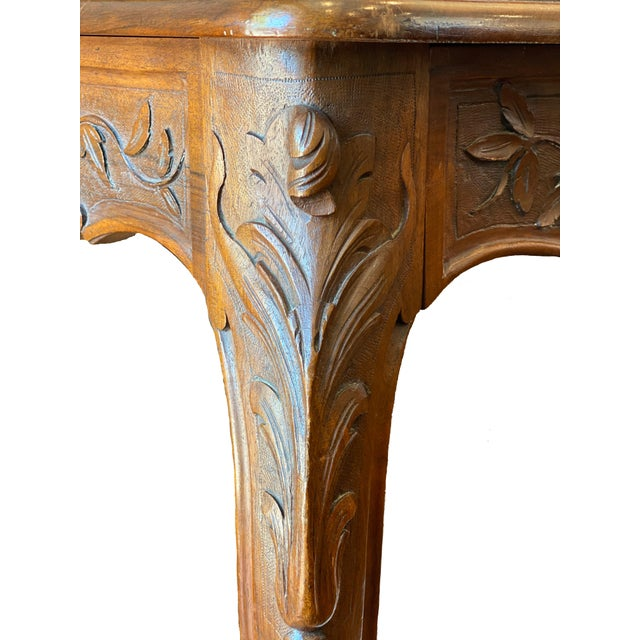 French Provincial Louis XV Walnut Console Table For Sale - Image 9 of 10