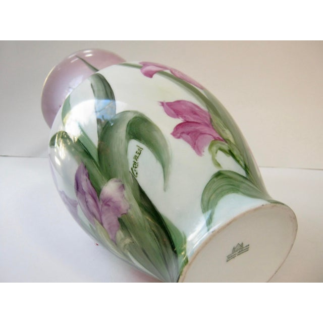 Vintage Early 20th Century German Hand Painted Iris Vase For Sale - Image 4 of 6