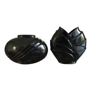 Hand Blown Black Modern Vases - A Pair