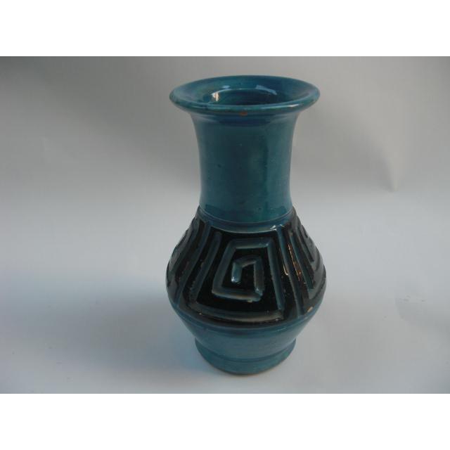 Vintage Italian Greek Key Etched Ceramic Vase For Sale - Image 4 of 7