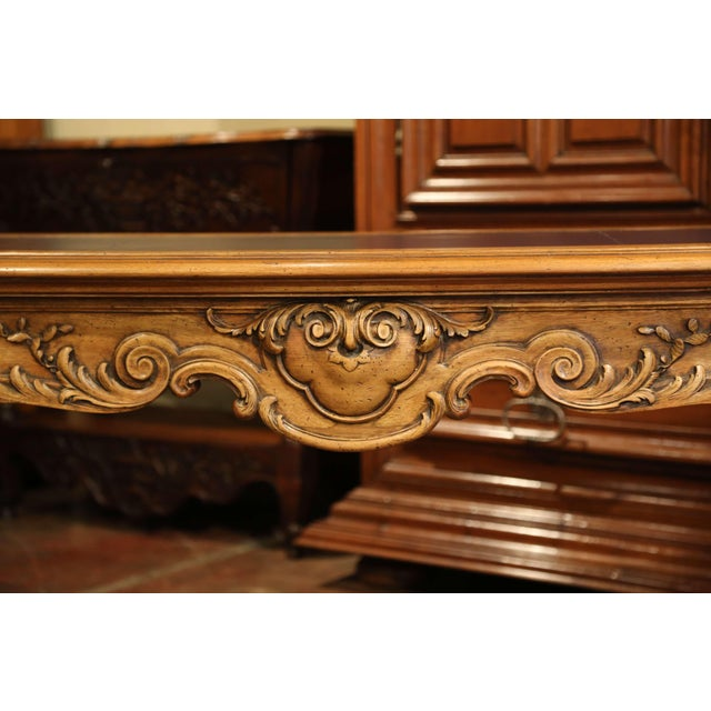 Large 19th Century French Louis XV Carved Walnut Console Desk With Leather Top For Sale - Image 12 of 13