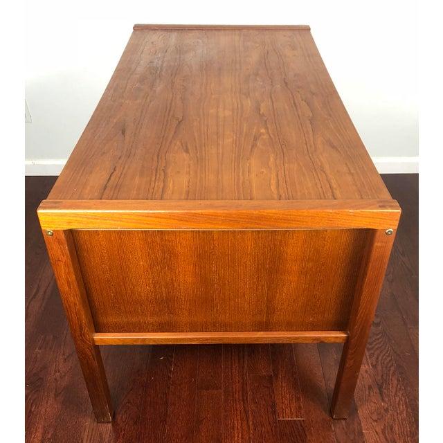 1960s Mid Century Modern Bent Silberg Teak Tanker Desk For Sale - Image 6 of 12