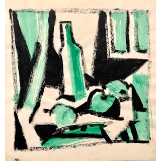 """Donald Stacy """"Fruit Still Life in Green"""" c.1950s Gouache on paper 24x18 For Sale"""