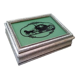 Vintage Art Deco Reverse Glass Silhouette Trinket Box