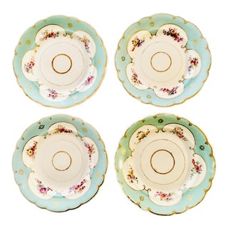 1900s Antique Robin's Egg Blue and Floral Plates-Set of 4 For Sale