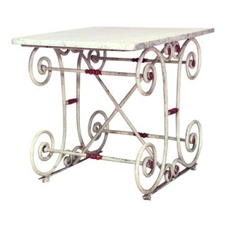 Outdoor Continental Marble Top Butcher's Table For Sale