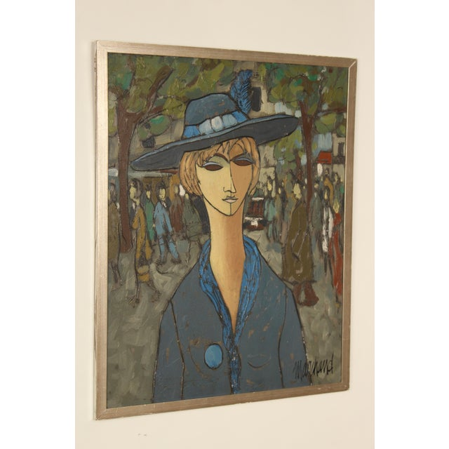 Post cubist painting by listed French artist Philippe Marchand, of a lady in blue, circa 1960's. Mixed media (oil and...