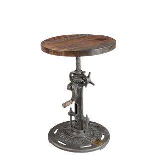 Vintage Reclaimed Wood Adjustable Stool For Sale