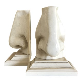 1980s Faux Marble Nose Bookends - A Pair For Sale