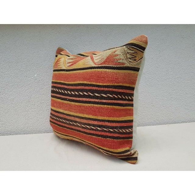 Vintage Turkish Kilim Pillow For Sale - Image 4 of 9