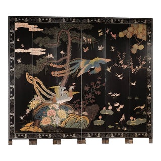 Chinese Monumental Coromandel Lacquer 6 Panel Double-Sided Folding Screen For Sale