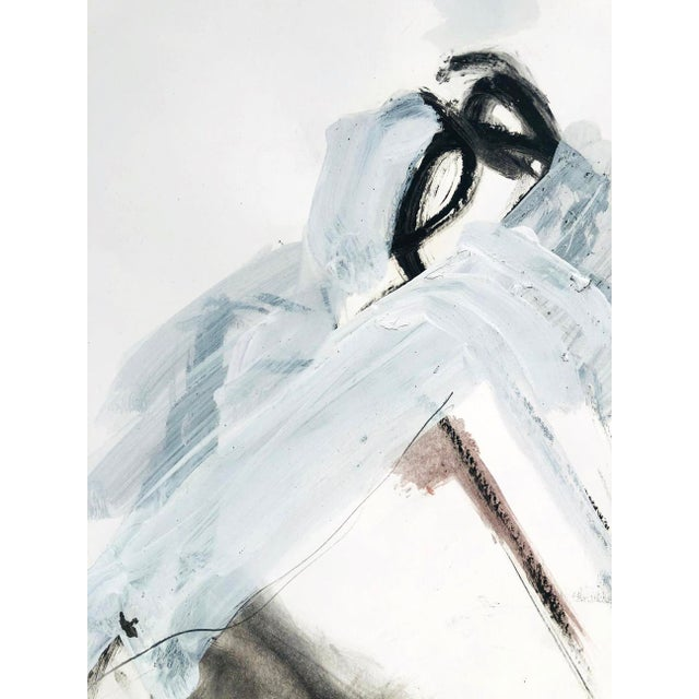 Contemporary Abstract Nude Figure Gestural Mixed Media Painting on Paper For Sale - Image 4 of 4