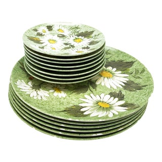 Mid-Century Oneida Deluxe Green Floral Melmac Plates - Set of 13 For Sale