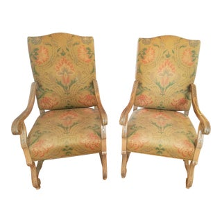 1960s Vintage Ralph Lauren Style Fabric Captains Chairs- A Pair For Sale