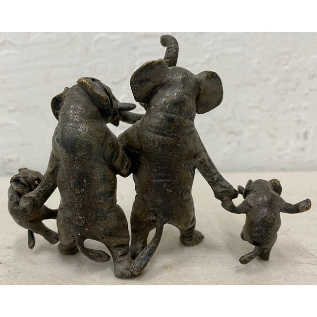 """Miniature Geschutz Vienna Bronze """"Elephant Family"""" Sculpture Wonderful elephant family with some remnants of paint...."""