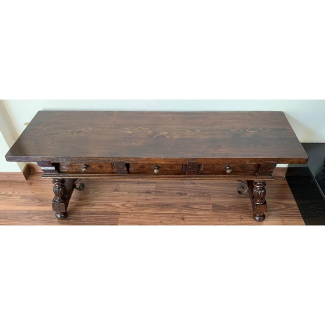 19h Spanish Bench or Low Console Table With Marquetry Drawers and Iron Stretcher For Sale In Miami - Image 6 of 11