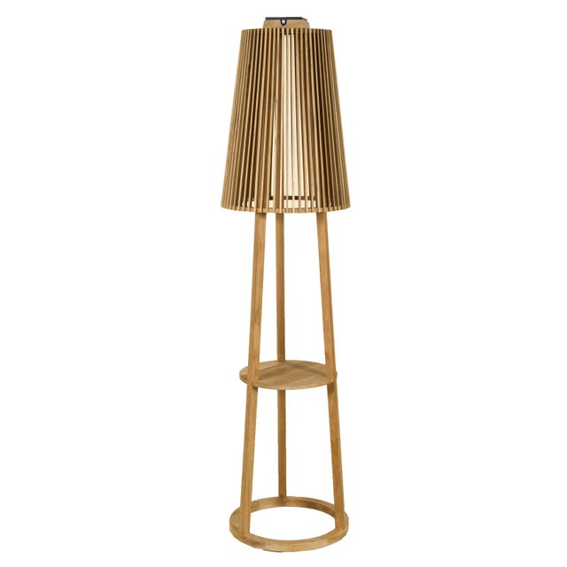 Solar outdoor floor lamp available in natural or weathered teak finish. Les Jardins High Efficiency Solar Lighting emits a...