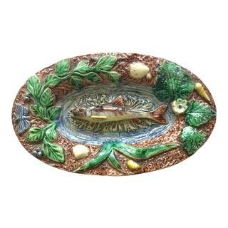 Majolica Palissy Fish Wall Platter Thomas Sergent Circa 1880 For Sale