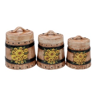 Vintage Farmhouse Ceramic Sunflower Canisters - Set of Three For Sale