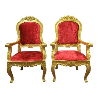 Louis XV Style Giltwood Armchairs - A Pair For Sale