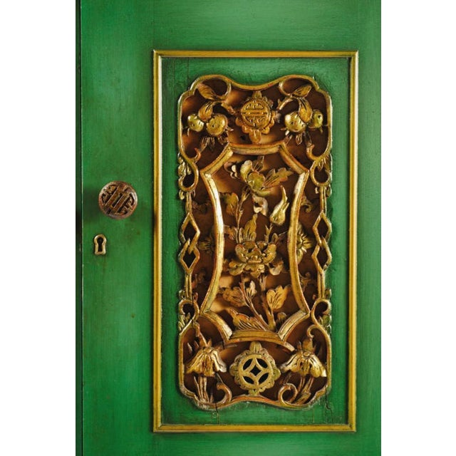 Emerald Green Chinese Cabinet Inset With Gilt Antique Panels For Sale In Chicago - Image 6 of 11