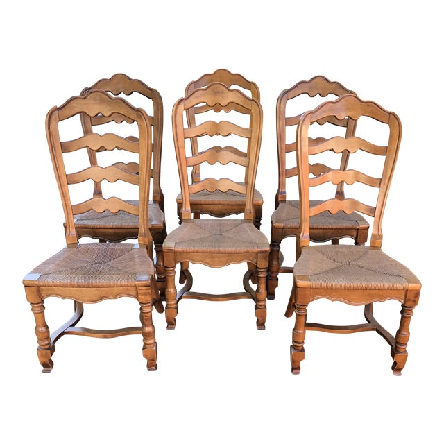1970s Vintage Ethan Allen French Country Ladderback Chairs- Set of 6 For Sale