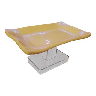 Vintage Lucite Yellow Pedestal Style Soap Dish For Sale