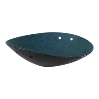 Carstens Tonnieshof Pottery Turquoise Blue Oval Bowl For Sale