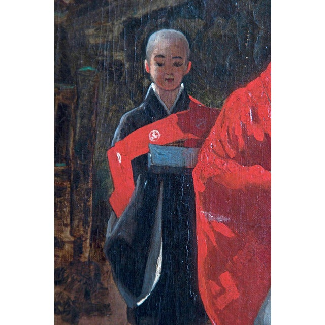 Late 19th Century Late 19th Century Francis Neydhart Oil on Canvas Japanese Monks in a Landscape For Sale - Image 5 of 13