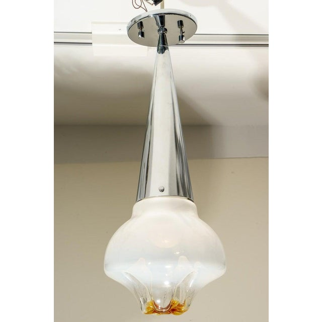 Metal Mazzega Murano Glass and Chrome Mid-Century Chandelier Pendant Lamp For Sale - Image 7 of 10