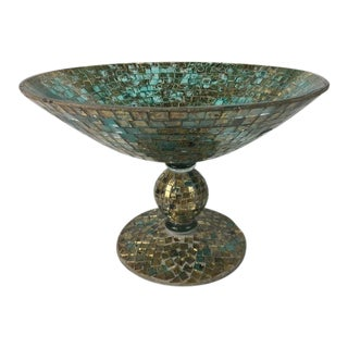 Mosaic Glass and Gilt Pedestal Bowl For Sale