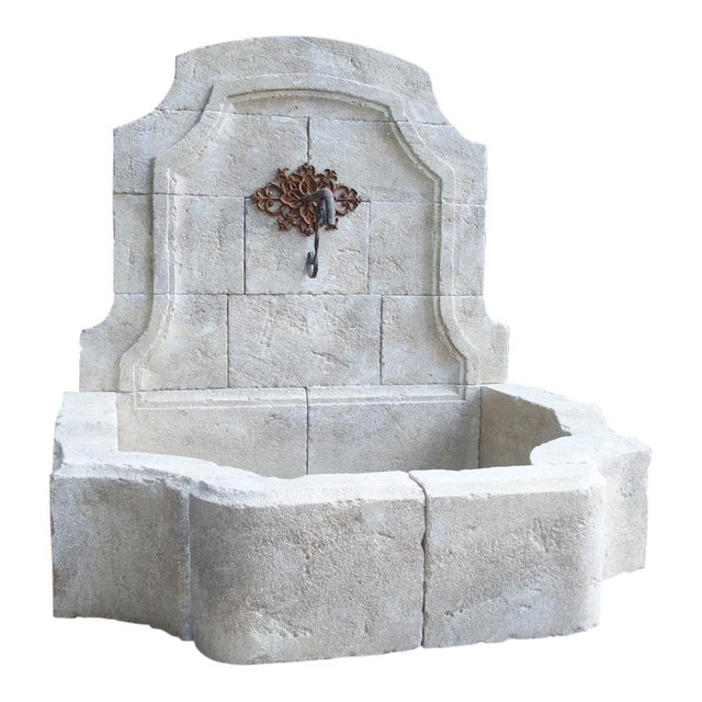 Carved Limestone Wall Fountain From the South of France For Sale
