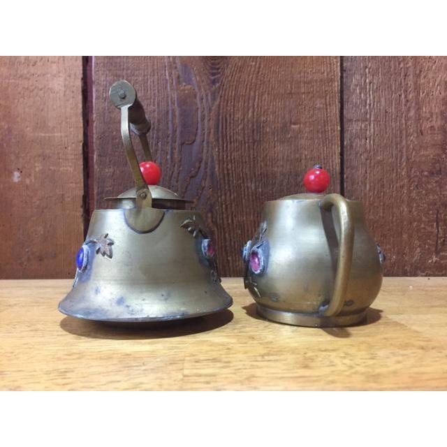 Vintage Brass Jeweled Tea Pots - A Pair - Image 5 of 9