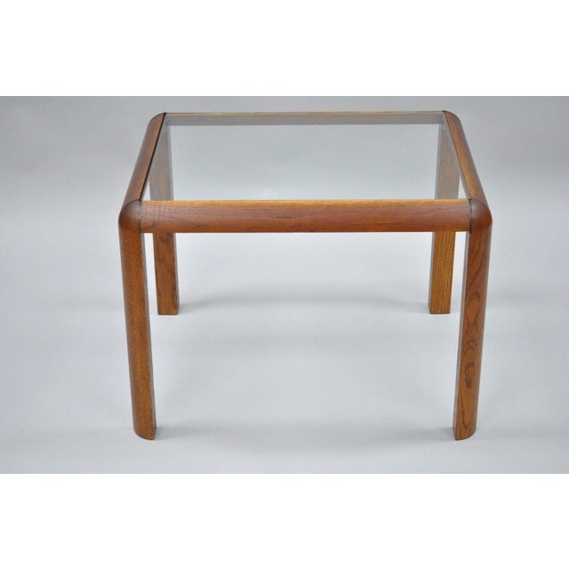 Vintage Mid Century Modern Oak Wood Glass Brass Rectangular Accent Lamp Side Table For