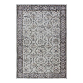 Vintage Mid-Century Gray Turkish Oushak Rug - 5′9″ × 8′11″ For Sale