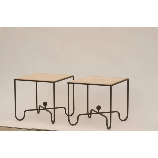 "Gemstone Contemporary ""Entretoise"" Design Frères Wrought Iron and Onyx Side Tables - a Pair For Sale - Image 7 of 8"