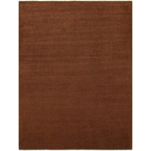 """Textile Over Dyed Color Reform Cordelia Brown Wool Rug - 9'0"""" x 11'10"""" For Sale - Image 7 of 8"""