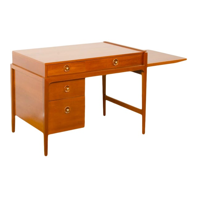 Mid-Century Walnut Desk With Side Extension Designed by John Van Koert for Drexel For Sale