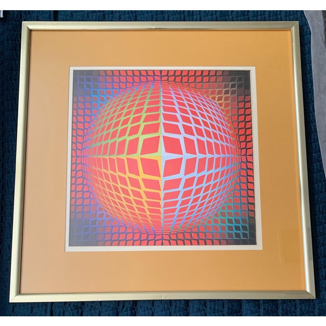 Vintage Victor Vasarely Op Art Lithograph Print Wall Hanging Mid Century Modern For Sale In Saint Louis - Image 6 of 6