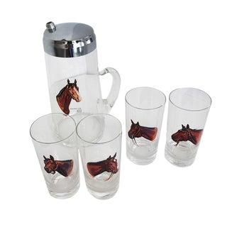 Vintage Art Deco Equestrian Glass Drink Set by Lynn Boque