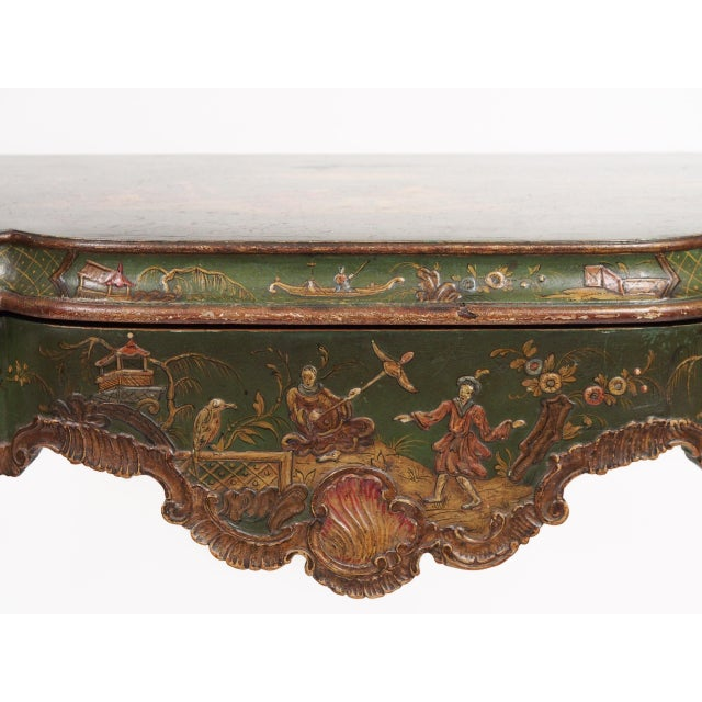 Gold Chinoiserie Decorated Console Table with a Drawer For Sale - Image 8 of 11