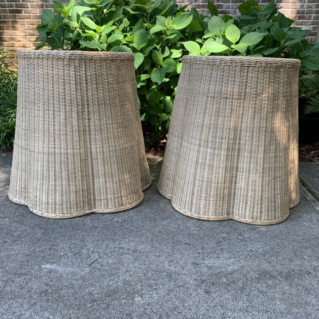 Trompe l'Oeil Round Top Draped Rattan Tables - a Pair For Sale - Image 12 of 12