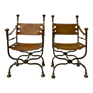 Pair of Italian Leather and Iron Campaign Style Chairs For Sale