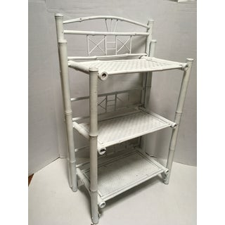 Vintage White Rattan Shelving Unit Preview