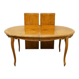 Late 20th Century Stanley Furniture Bookmatched Maple Dining Table For Sale