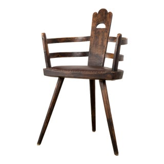 1930s Vintage Three Legged Antique French Chair For Sale