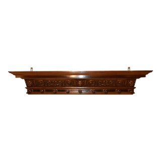 19th Century Hand Carved Mantle Shelf For Sale
