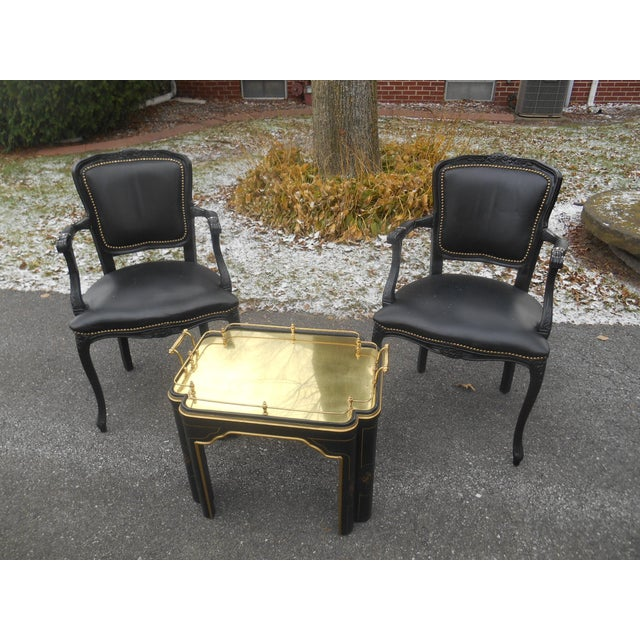 20th Century French Louis XV Style Black Leather Bergere Chairs - a Pair For Sale - Image 6 of 7