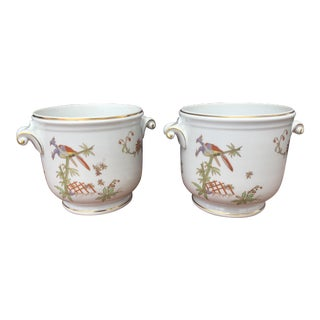 Hand-Painted Porcelain Richard Ginori Cachepots - a Pair For Sale