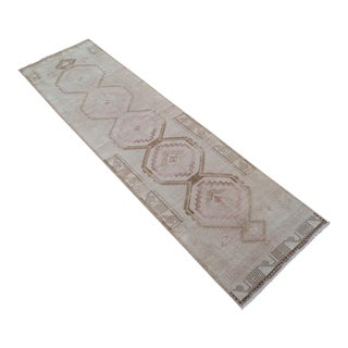 Distressed Oushak Rug Runner Faded Colors Low Pile Large Runner - 3'5″ X 13'